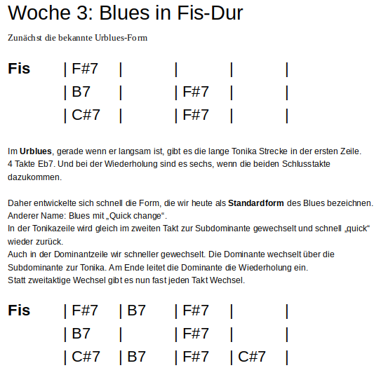 Ur- und Standardblues in Fis-Dur